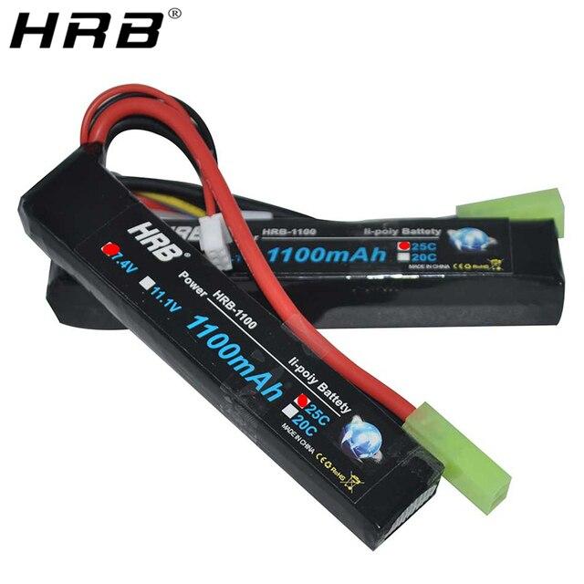 HRB pistola de agua Lipo con batería 3S 2S, 7,4 V, 11,1 V, 1100mAh, 25C, conector Tamiya, AKKU, Mini Airsoft, BB, pistola de aire, piezas de control remoto