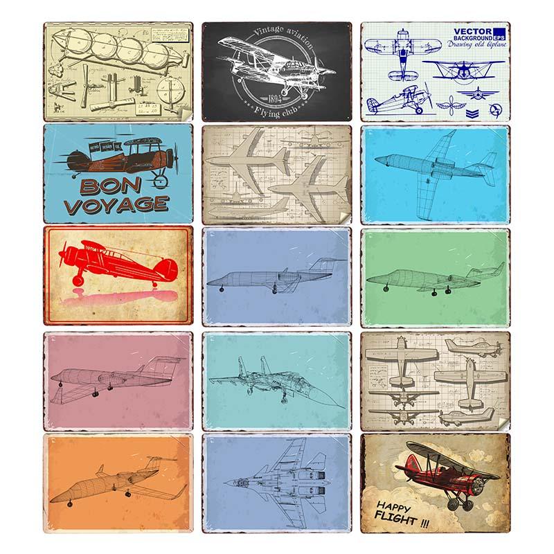 Airplane Blueprint Outline Retro Metal Signs American Plane Vintage Plaque Art Wall Tin Painting Pub Club Bar Shop Home Decor