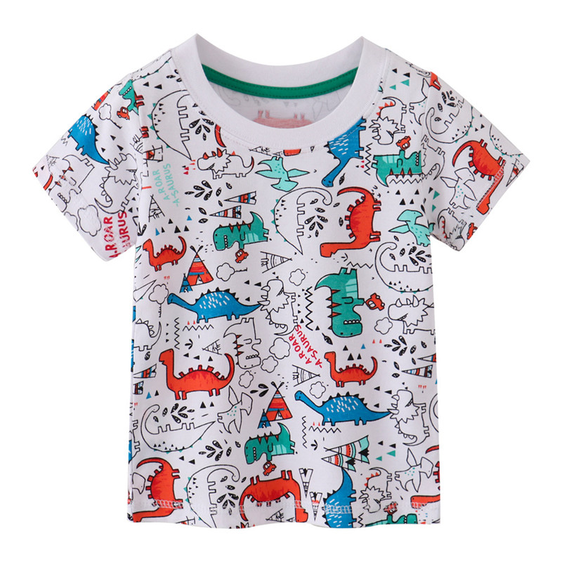 H60c863d8373f4da2ade06e1b4b2b64d2M Jumping meters Summer 100% Cotton Boys Girls T shirts Tigers Print New Baby Clothes Hot Selling Boys Tees Animals Kids s