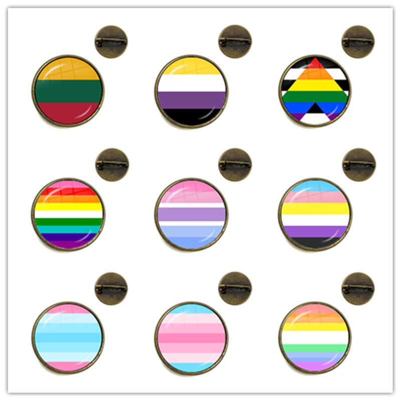 Baru Fashion Kaca Cabochon Pelangi Berwarna-warni Bunga Bros Kristal Kerah Pin Perhiasan untuk Biseksual Lesbian Gay Pride Hadiah