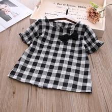 Г. Летняя детская рубашка с короткими рукавами в новом стиле; рубашка в клетку с бантом для маленьких девочек; X0071