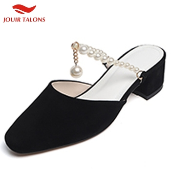 Brand Top Quality Suede And Leather Chunky Heels Beading Summer Mules Woman Pumps Women Shoes
