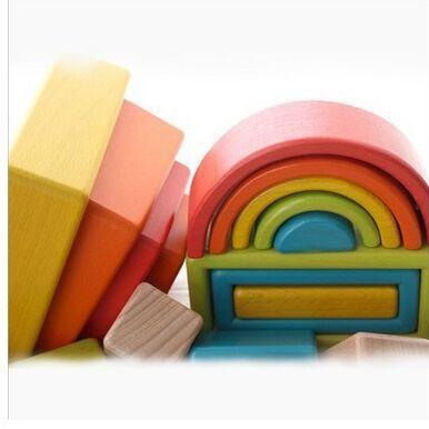 Blocs de construction en bois arc en ciel pour enfants jouets grand puzzle en bois massif pour bébé - 2