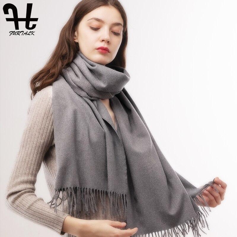 FURTALK Cashmere Scarf Women Autumn Winter Wool Cashmere Poncho Shawl Luxury Brand Pashmina Muslim Hijab Scarf 70*180 Cm 2019