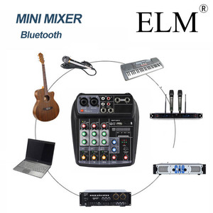 Image 2 - ELM consola mezcladora de Audio para Karaoke, AI 4, tarjeta de sonido compacta, consola mezcladora, Digital, BT, MP3, USB, para grabación de música y DJ