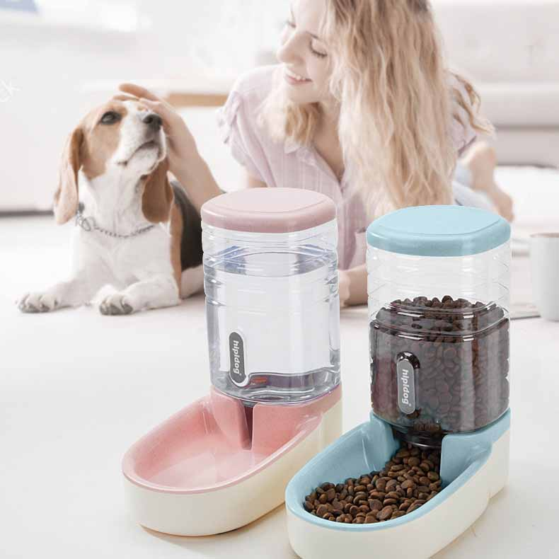 Pet Cat Dog AutoMatic Feeder Plastic Dog Kettle Large Capacity Food Dispenser Cat And Dog Feeding Bowl Pet supplies in Dog Feeding from Home Garden