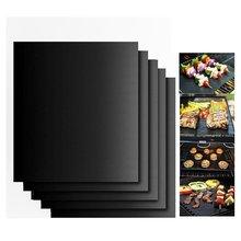 Черный коврик для барбекю и гриля, многоразовый антипригарный коврик для приготовления барбекю, коврик для выпечки, покрывает лист, фольга, инструмент для барбекю, 33*40 см, толщина 0,2 мм