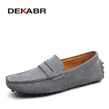 Marca DEKABR, mocasines suaves de estilo veraniego a la moda para hombres, zapatos de piel auténtica de alta calidad, zapatos planos para hombres, zapatos de conducción Gommino