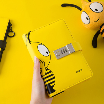 цена на A6 Binder Notebook and Journal with Lock Cute Bee Diary Notepad 6 Rings Line Agenda Planner Organizer Note Book Spiral Handbook