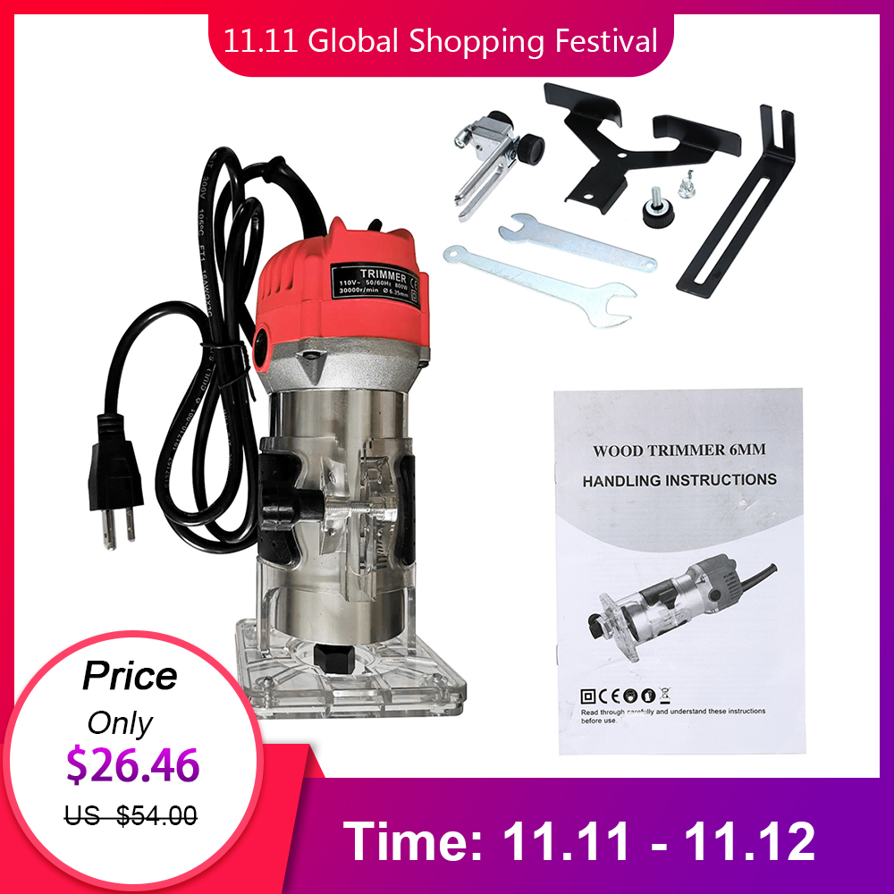 800W Electric Laminate Edge Trimmer Mini Wood Router Collet Carving Machine Carpentry Woodworking Power Tools