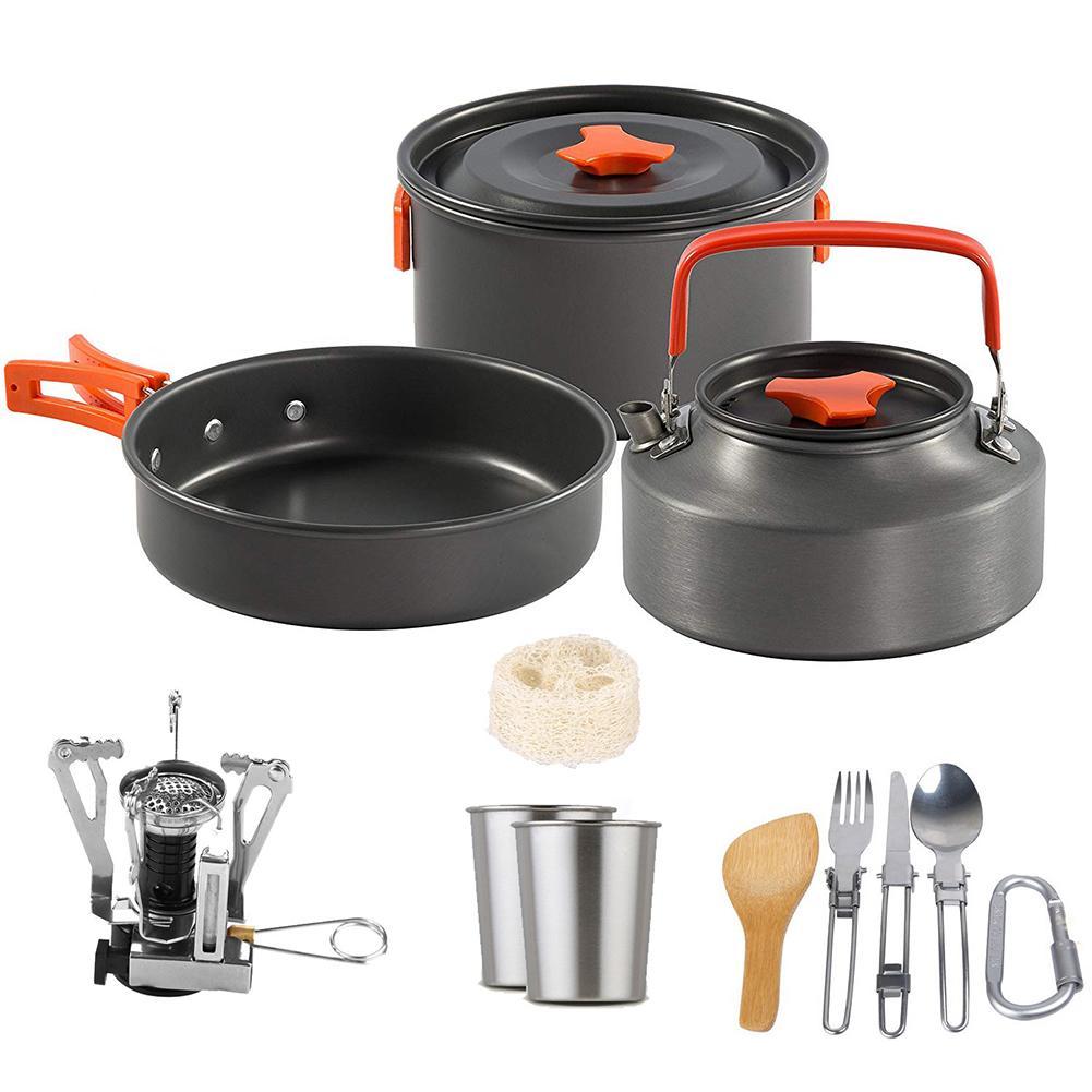 Набор кухонной посуды из алюминиевого сплава для отдыха на природе, посуда, посуда, кухонная плита в комплекте, сковорода Для Путешествий, П...