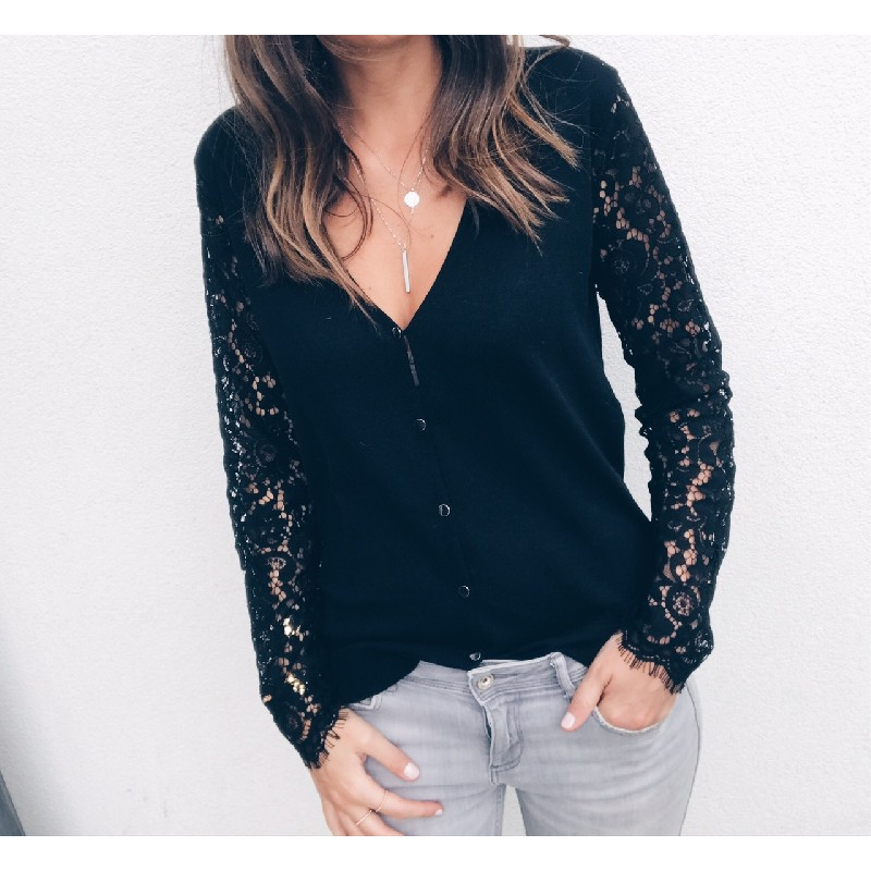 Women Lace Tops Long Sleeve Floral Hollow Out Shirt Casual Blouse Loose Shirts V Neck Sexy Lace Sleeve Hollow Tops White Black