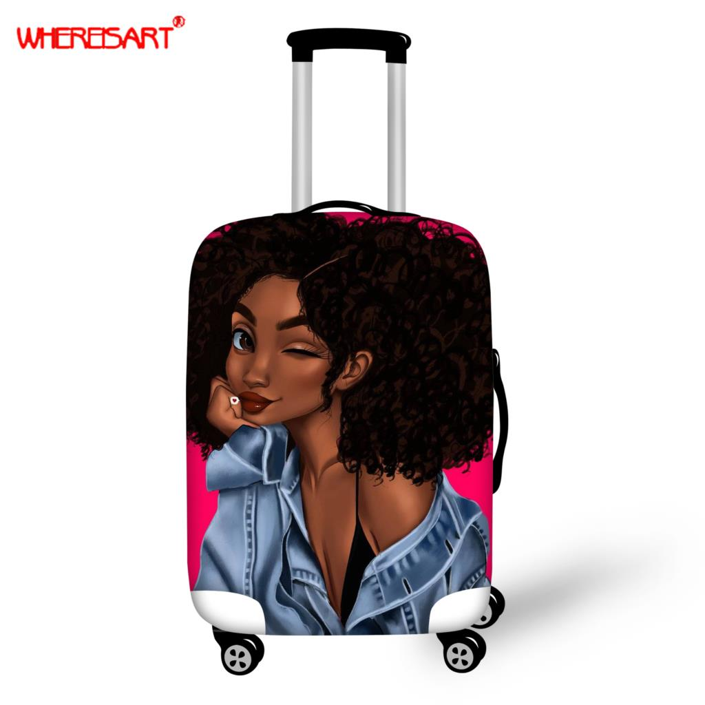 WHEREISART Afro Girl Print Luggage Protective Cover Travel Suitcase Cover Elastic Dust Cases For 18'' To 32'' Travel Accessories