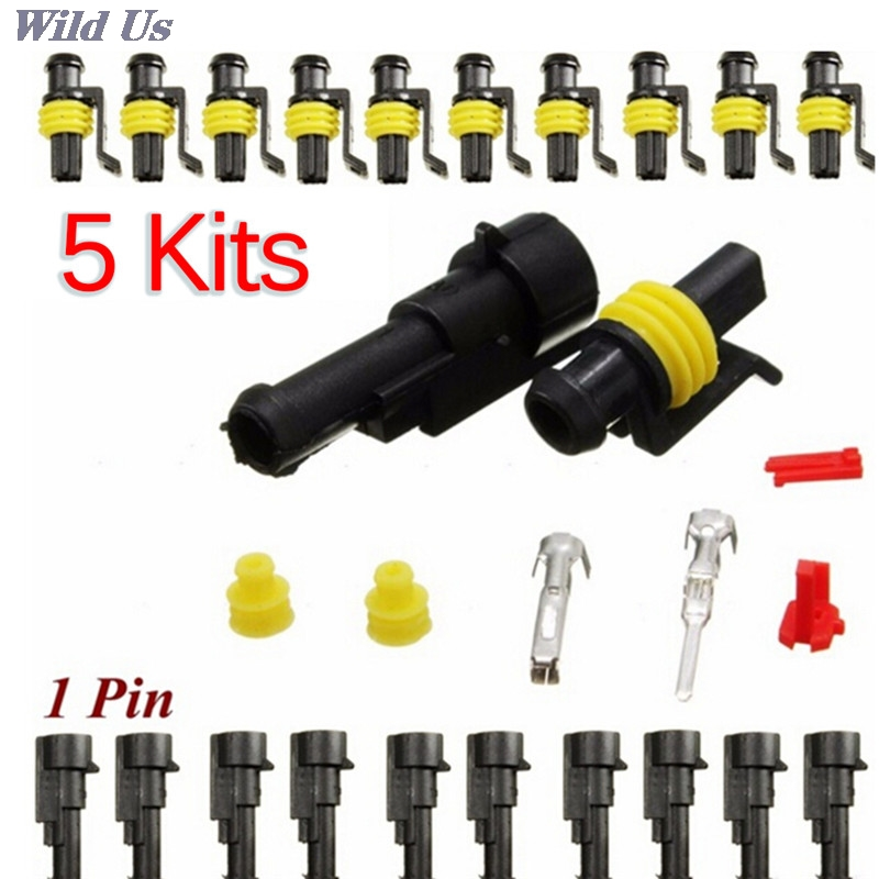 5 piezas de coche a prueba de agua 1 Pin de sellado de vía cable eléctrico enchufe de conector automático set coche motocicleta para HID LED luz antiniebla