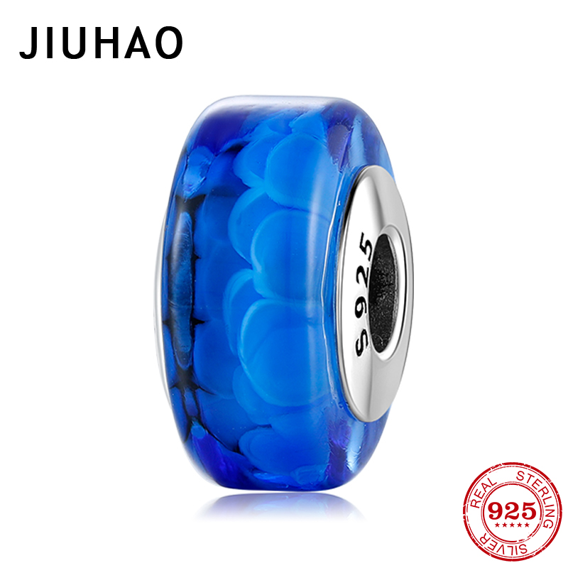 Authentic 925 Sterling Silver Cylindrical Shape Sea Blue Murano Glass Beads Fit Original Pandora Charms Bracelet Jewelry