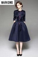 MARKOWO Desinger Brand 2020 Fall New Women's Hepburn Style Collar Seven Sleeve Sleeve Mid Sleeve Dress