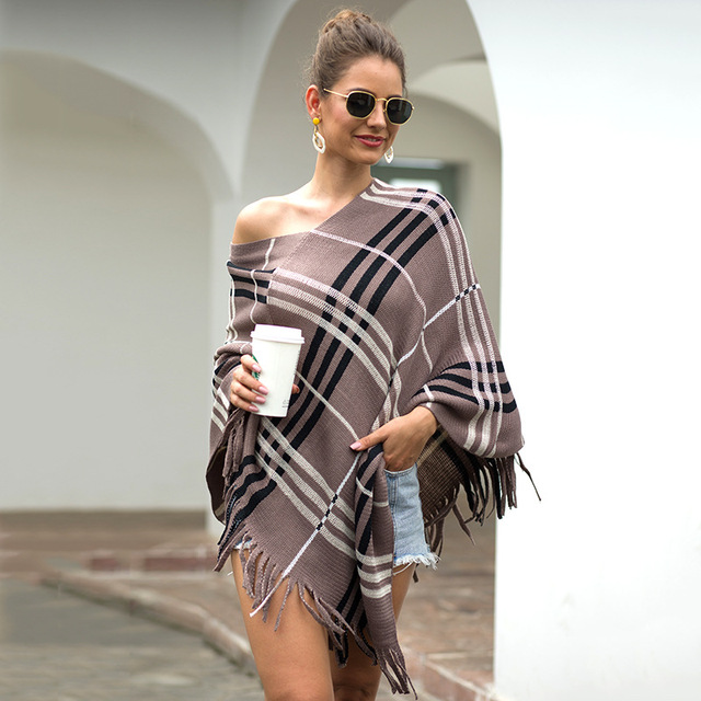 2020 Autumn Winter European American Fringed Shawl Cloak Diagonal Stripe Pullover V-neck Ladies Sweater Poncho Women's Clothing 2
