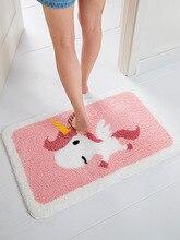 Home cartoon cute bathroom flocking absorbent floor mat sofa coffee table non-slip mat bedroom bedside carpet pebble series flannel printing home anti slip absorbent entry mat bathroom mat door mat bedside mat