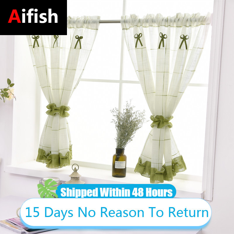 Kitchen Cotton Linen Short Curtains Roman Blinds White Sheer Tulle Panel Window Treatment Door Small Curtain For Home Decor 3