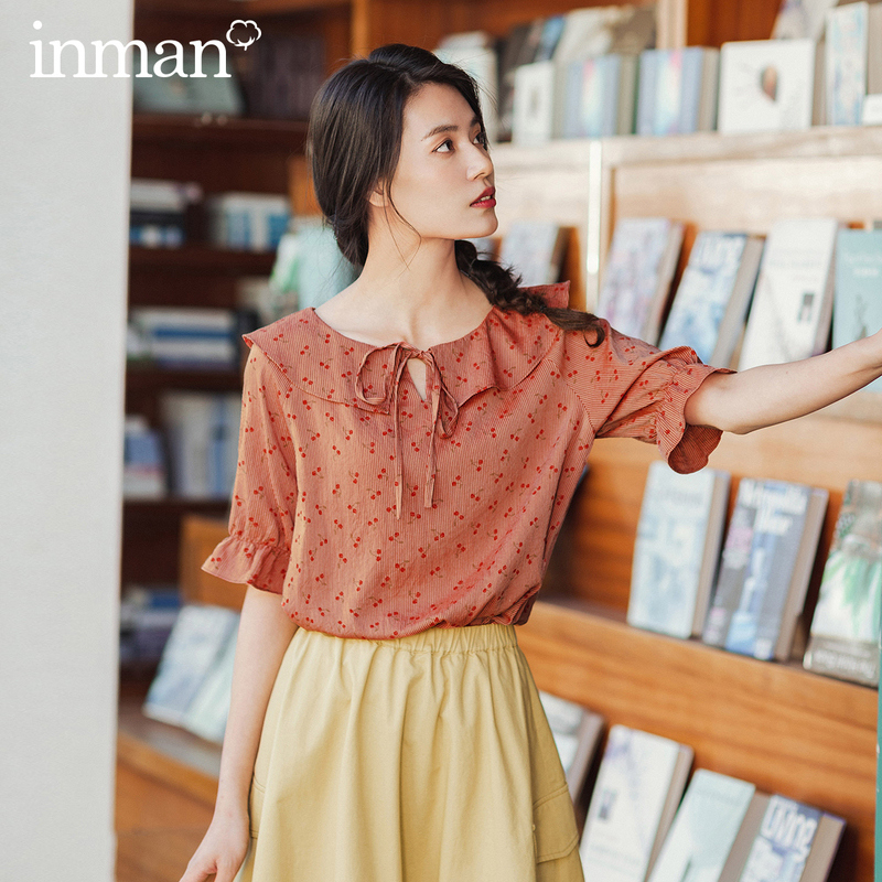 INAMN 2020 Summer New Arrival Cherry Print Peter Pan Collar Lace-up Cute Sweet Shivering Half Sleeve Blouse