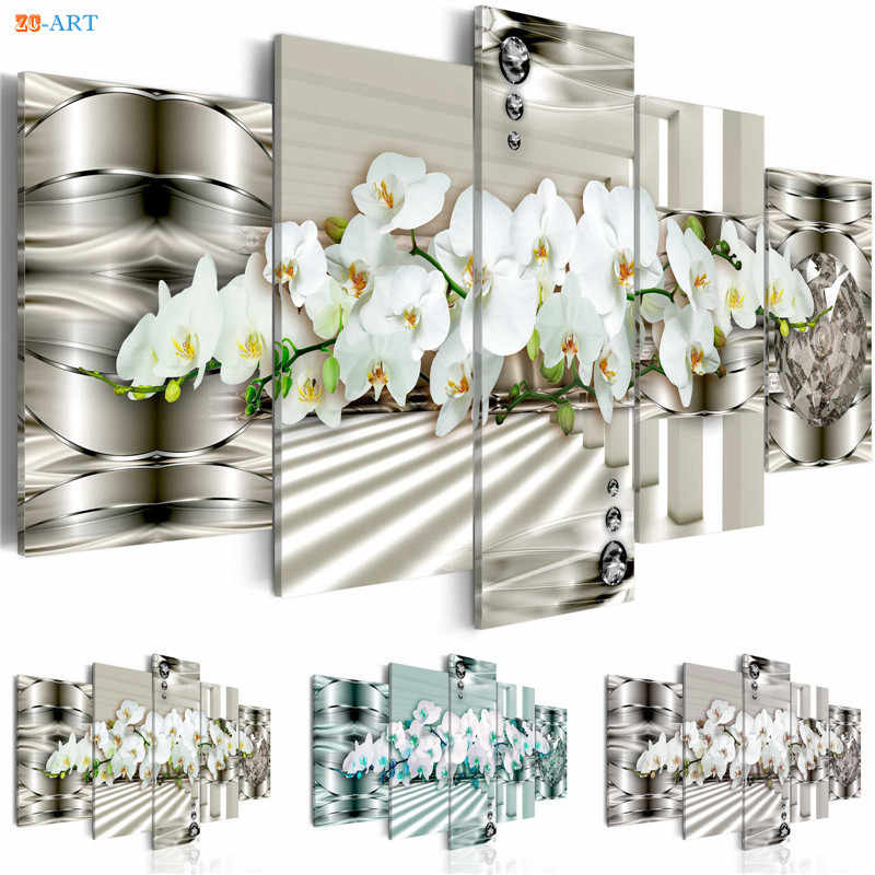 Flowers Prints Wall Painting 5 Pieces Blossom Poster Modern Canvas Art Modular Pictures for Living Room  Home Decor
