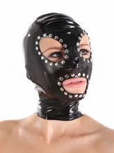 (Latex 38) Heavy Rubber Gorgeous Mask Latex Hood Sexy Latex Rubber Fetish Mask WithPin Around Back Zipped Mask 0.8MM