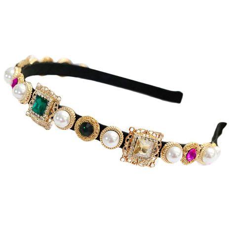 Cheio de Jóias Barroco Vintage Embelezado Bandana Feminino Banquete Baile Coroa Cabelo Hoop Colorido Liga Imitação Diamante Headpiece