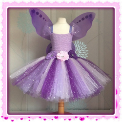 Meninas arco-íris borboleta tutu vestido de fadas crianças crochê vestido de flor vestido de baile com asa e hairbow crianças festa traje