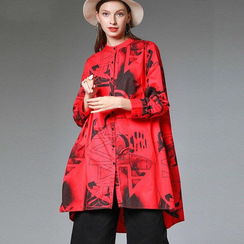 MEVGOHOT femme rouge irrégulière impression col rabattu manches longues hauts grande taille lâche automne poches mode chemises HC062