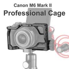 Алюминиевый клетка для камеры UURig для Canon M6 Mark II с резьбовым отверстием 1/4 3/8, клетка для бревен для микрофона, светодиодная подсветка