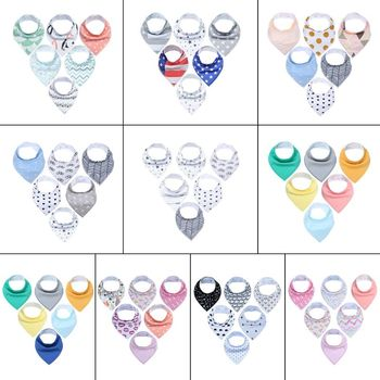 6 Pcs/set Newborn Baby Drool Bibs Absorbent Cotton Bib for Infants Drooling Teething Feeding Unisex Saliva Towel
