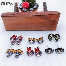 EUPNHY 1Pair Cartoon Blossom Bubbles Buttercup Stud Earrings Hypoallergenic Piercing Small Earrings