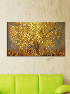 Image 2 - Unframed Hand Painted Knife Gold Tree Oil Painting On Canvas Large Palette 3D Paintings For Living Room Modern Abstract Wall Art