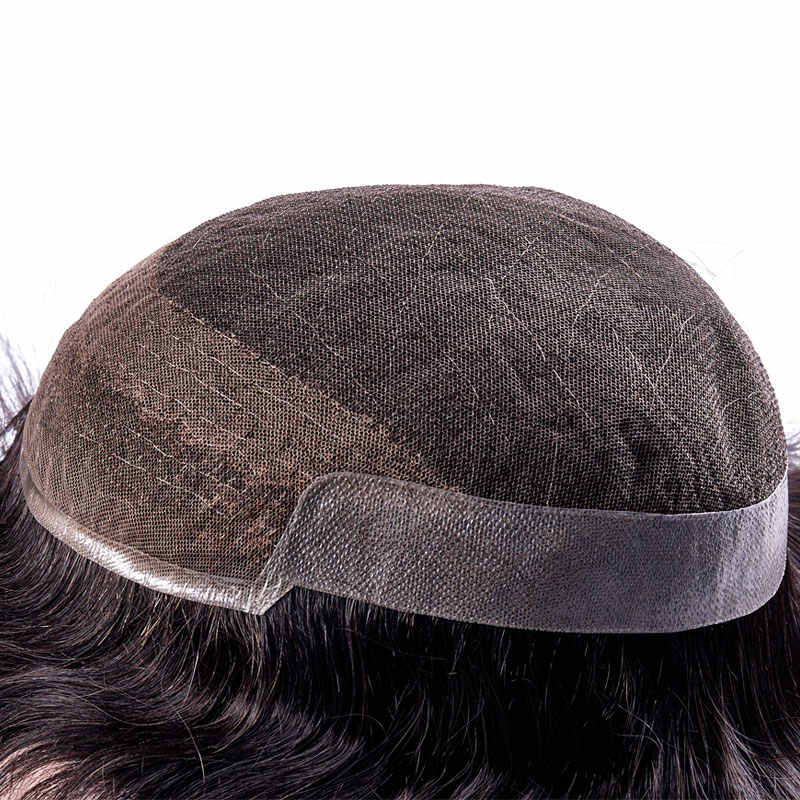FRANZÖSISCH SPITZE Mit PU Herren Toupet Remy Indisches Haar Ersatz System Menschliches Französisch Spitze Super Haarteile Perücke Handmade
