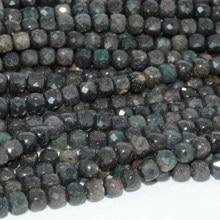 Perle Cube naturelle Simple, opale noire de qualité moyenne, à facettes irrégulières, 4.2mm-4.5mm