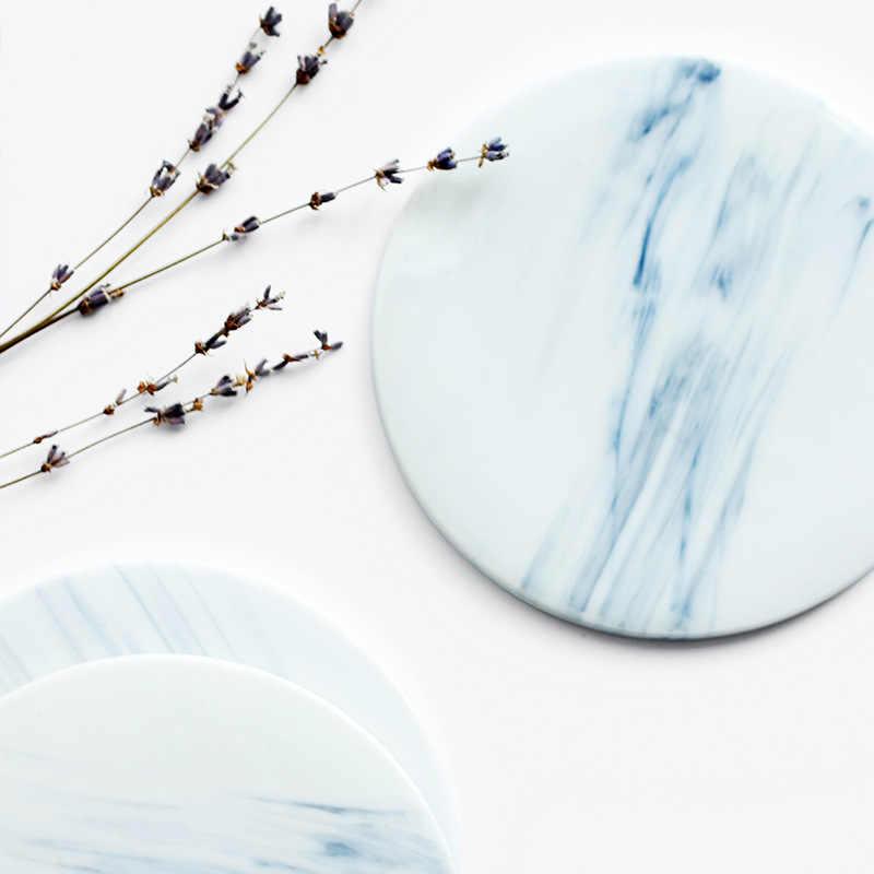 15cm Round Marble Ceramic Plate Mat Insulated Bone China Mug