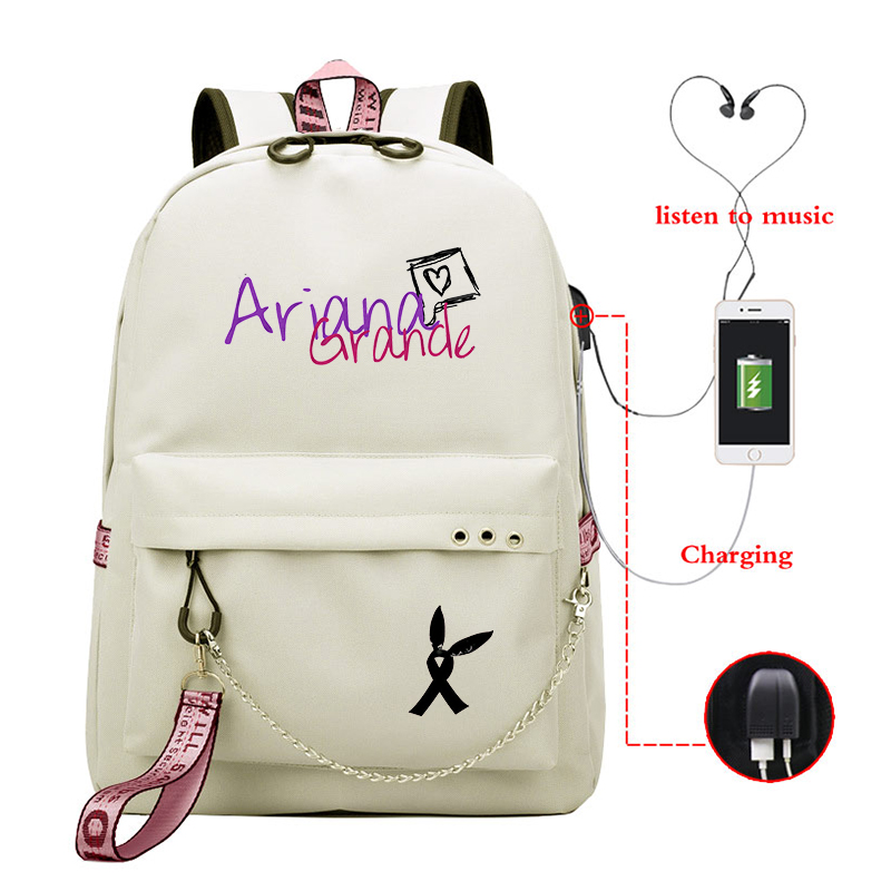 Ariana Grande Printed Casual School Bags Girls USB Charging Backpack Teenagers Daily Laptop Bag College Student Funny Bookbag