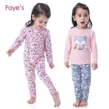 2-10 Years Girl Pajamas Sets Cotton Long Sleeve Cute Cartoon Nightwear Children Pyjamas Clothes Kids Clothing цена и фото