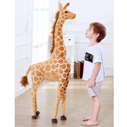 High-quality Giraffe Plush Toy Doll Standing Pose Christmas Deer Rag Doll Sika Deer Doll Kids Toy Photography Props Decor