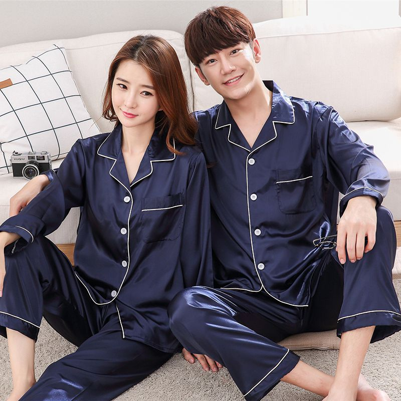 Couple Ice Silk Pajamas Set Sleepwear Long Sleeve Homewear Mujer Turn-down Neck Nightgown Plus Size 3XL