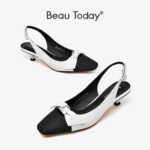 BeauToday Sandals Women Cow Leather Cloth Butterfly-knot Mixed Colors Square Toe Buckle Strap Lady Med Heel Shoes Handmade 31142