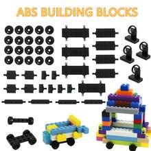 42 pçs/set blocos de construção tijolos moc modelo, peças de construção do carro rodas eixo pneus conjunto de brinquedos, pequenas partículas, tijolos