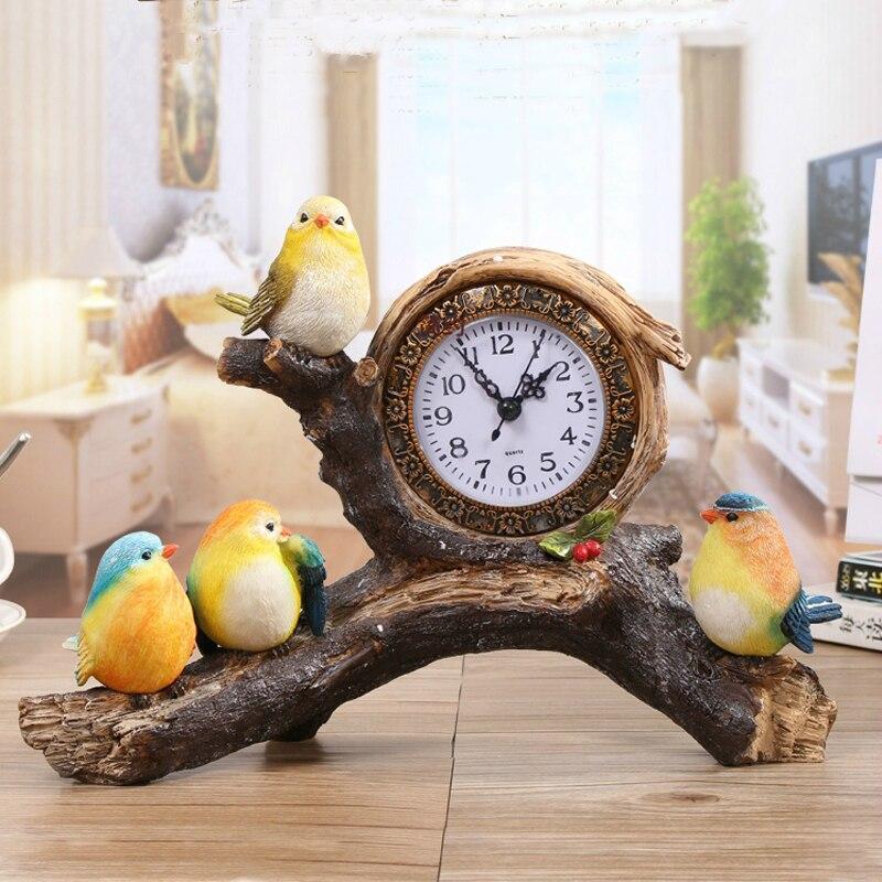 Chaude nordique oiseau branche Table horloge décoration de la maison salon chambre bureau Table montre muet résine bureau horloge décoration cadeau