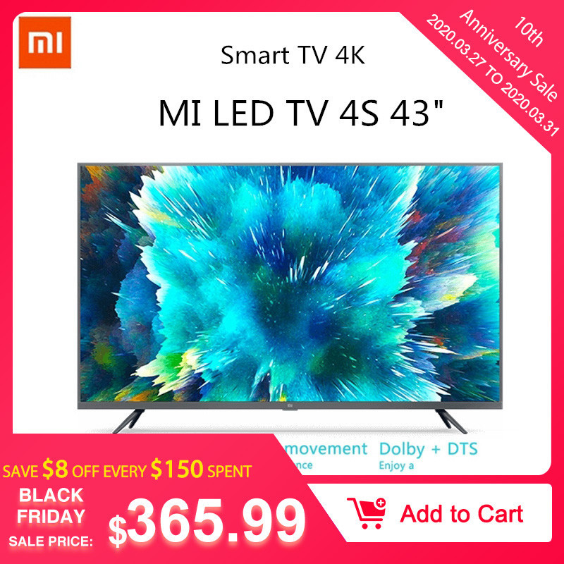 Xiaomi TV 4S 4K HDR Smart TV 2+8GB 43 Inch 3840 X 2160 HD 2.4G/5.8G 5G WIFI Bluetooth 4.2 Android 9.0 International ES Version