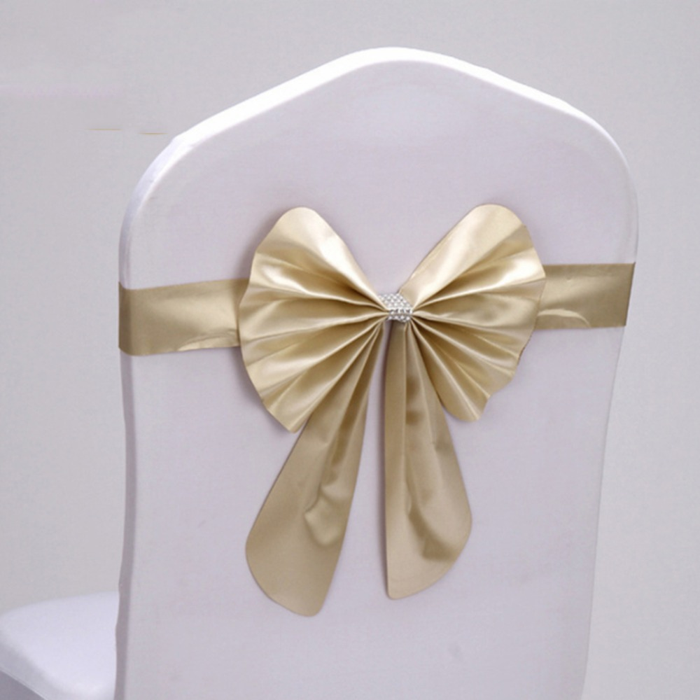20 Pcs/Pack Adjustable Bow Tie Ribbon Bands Decorative Chair Sashes Accessory Banquet Seat Decoration Sashes Wedding Hot Sale