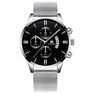 Image 4 - 남자 시계 SHAARMS 브랜드 럭셔리 날짜 캐주얼 남자 스테인레스 스틸 방수 망 쿼츠 손목 시계
