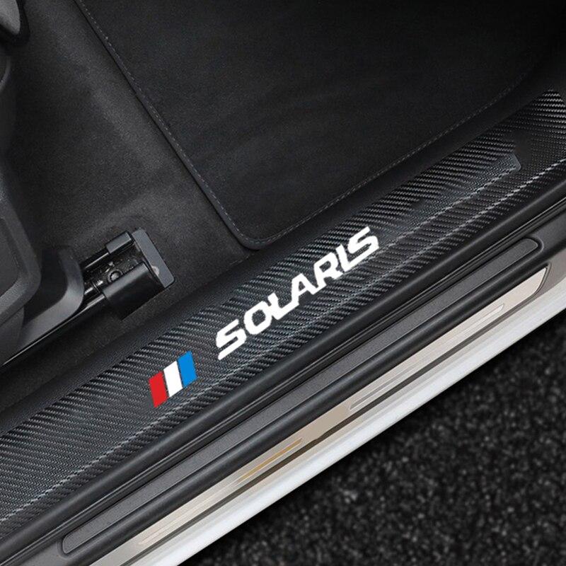 4 шт., автомобильные наклейки на порог, кожаные наклейки для Hyundai SOLARIS, 2019 2017 2012, автомобильные накладки на порог, накладка на педаль, автомобил...