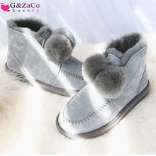 G&Zaco Sheep Fur Wool Boots Women Wool Shoes Sheepskin Snow Boots Winter Suede Ball Ankle Boot Genuine Leather Flat Fashion Shoe