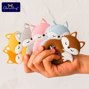 Image 1 - 10pc Baby Silicone Teether Rodent Silicone animal Fox Pacifier teeth Pendant BPA Free Silicone Beads Chew Biter Children Goods