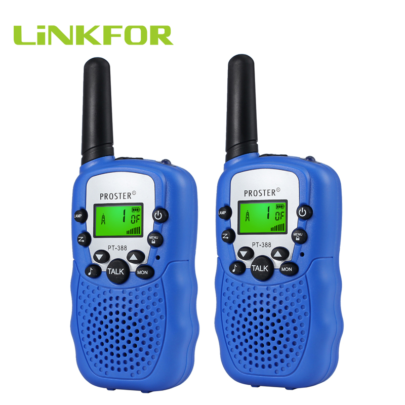 LiNKFOR 2Pcs Portable Wireless Walkie Talkie 2 Twin Pack T-388 UHF 446MHz Auto Multi Channels For Kid Two-Way Radio 3km